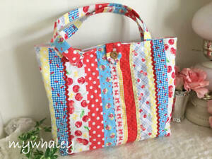 NEW-Red-Cherries-amp-Yellow-Pom-Pom-Polka-dots-QUILTED-SHOULDER-TOTE-Market-Bag