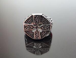 925-Sterling-Silver-Ring-Norse-Celtic-Knot-Cross-Sacred-Symbol-Viking-Pagan