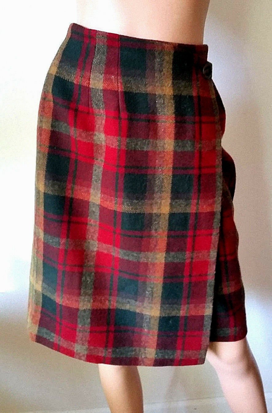 VTG Pendleton Wool Women's Plaid Wrap Pencil Red & Green Plaid Skirt Size 6
