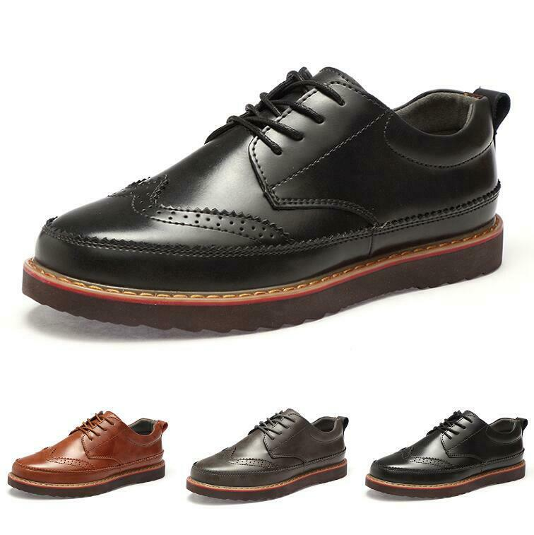 Brogue Men's Leisure Leather shoes Flats Non-slip Breathable Lace up British New
