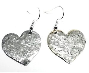 Large-Pewter-Hammered-Heart-Charms-on-St-Silver-Ear-Wire-Dangle-Earrings-5514