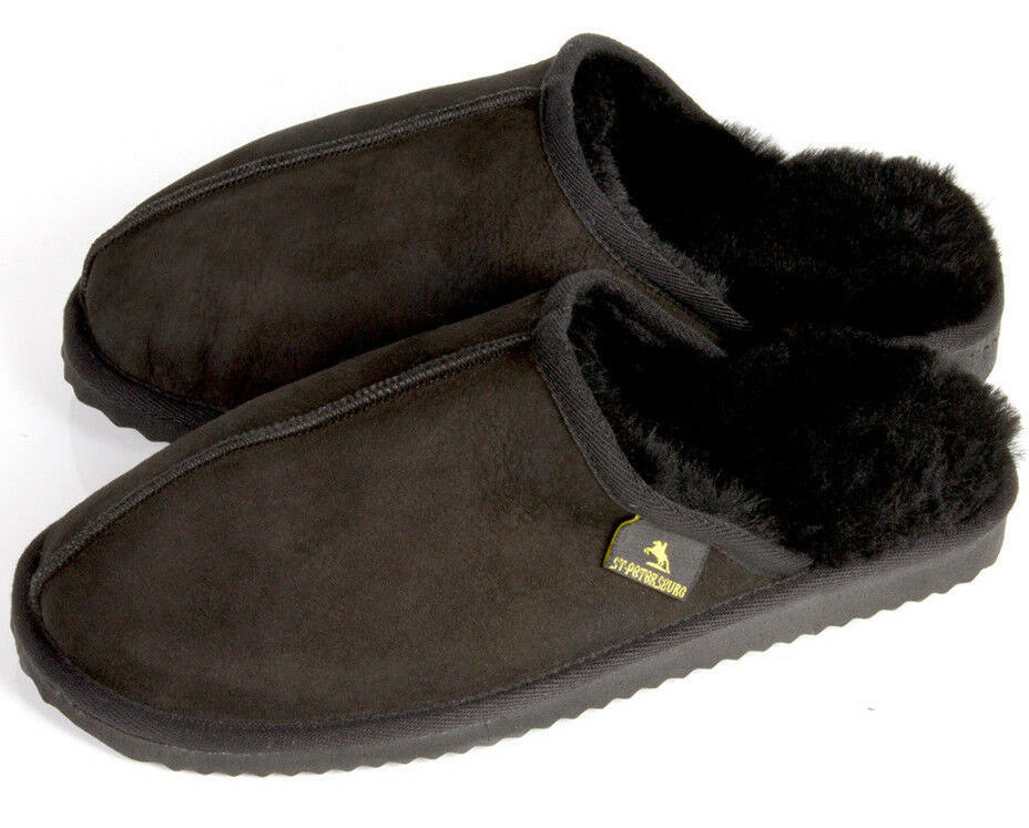 House Slippers Sheepskin Men's Very Warm and Cozy Made in Turkey Black
