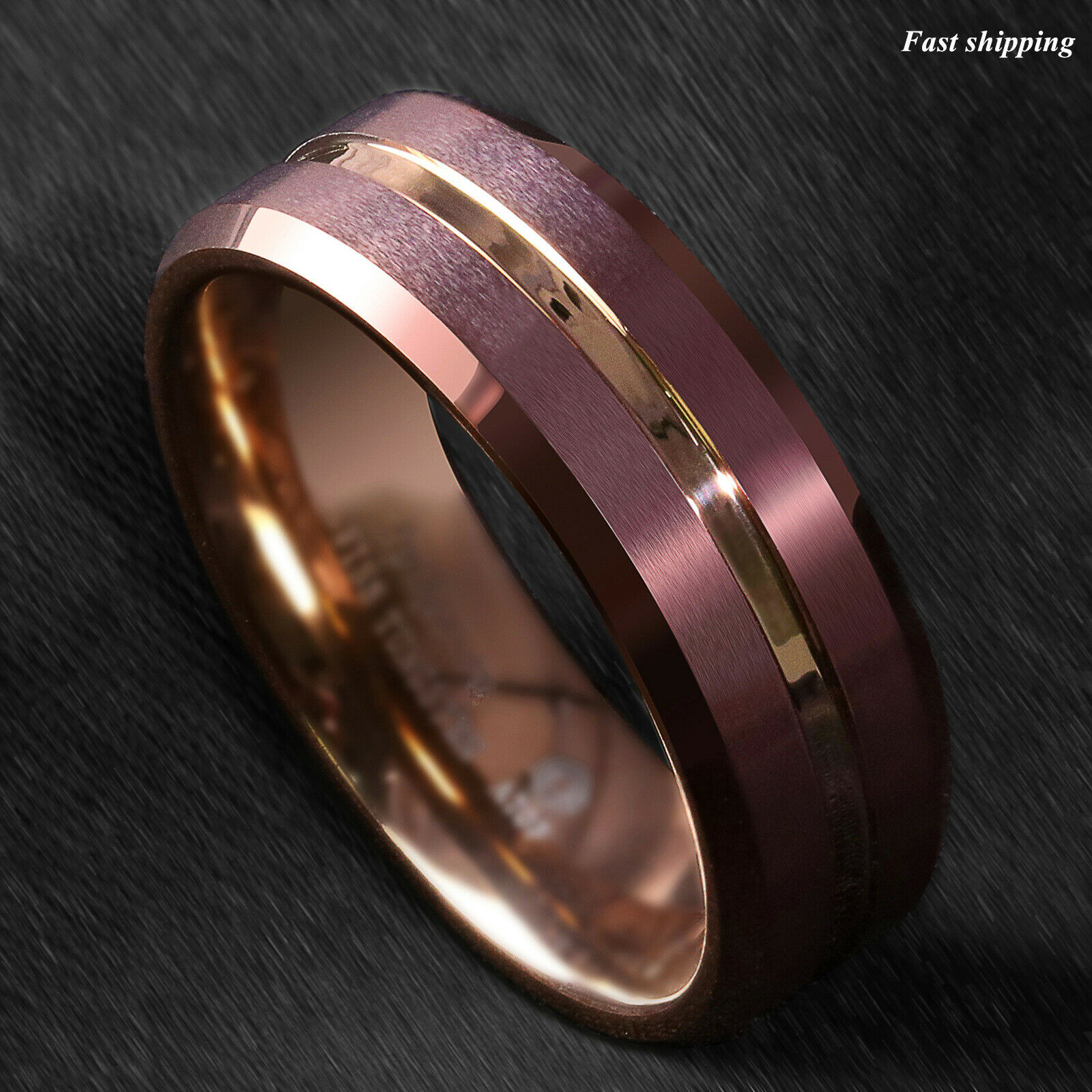 It is a picture of Details about 41/41mm Brushed Brown Tungsten Mens Ring Rose Gold Groove Stripe ATOP Wedding Band
