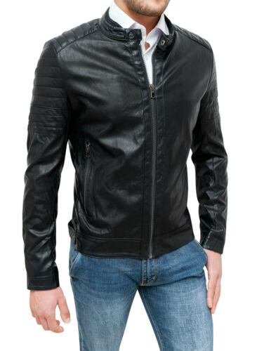 Jacket Men/'s Eco-Leather Black Slim Fit Casual Motorcycle Protections