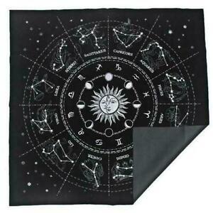 The Zodiac Tarot Cloth Decor Divination Cards Velveteen Square Tapestry Black**