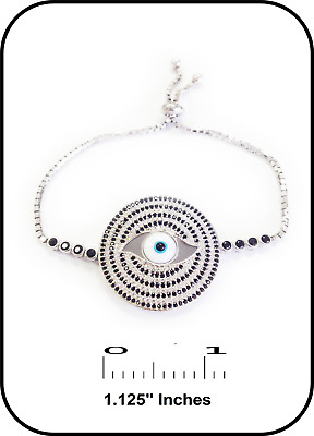 .925 Sterling Silver Evil Eye Bracelet for Protection Kabbalah with Cz