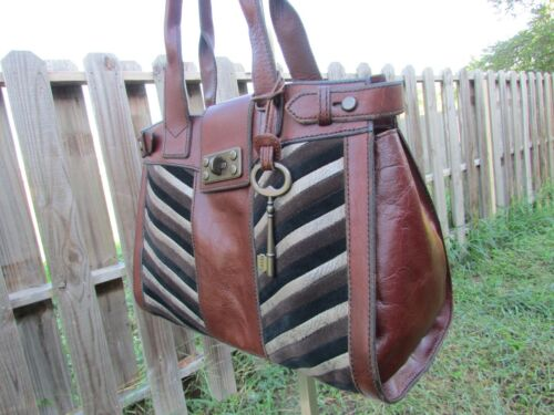Fossil Vintage Reissue Brown Leather And Suede Che