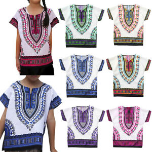 Boy-Girl-Kids-Baby-Unisex-Bright-African-Colour-Child-Dashiki-T-Shirt-Tee-Top-US