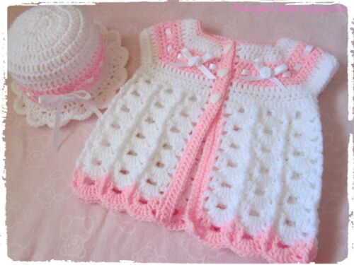 Hand Crochet Knitted Baby Girl Sleeveless Cardigan /& Brimmed Hat with Satin Bows