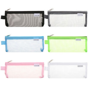 Stationery-Zipper-Pencil-Case-Cosmetic-Storage-Mesh-Pen-Bag-Transparent-Grid