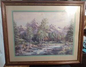 Homco-Home-Interior-Log-Cabin-Creek-Mountains-Stream-Print-Lee-K-Parkinson