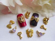 3D Nail Art *Gold Mix* Rhinestones Skull Ring Bow Butterfly Key Metallic Tip Gem
