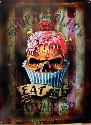 Metal Plate Deco Alchemy Skull Gothic Eat Me Cupcake 15 11/16x11 13/16in Other Collectible Ads Collectibles