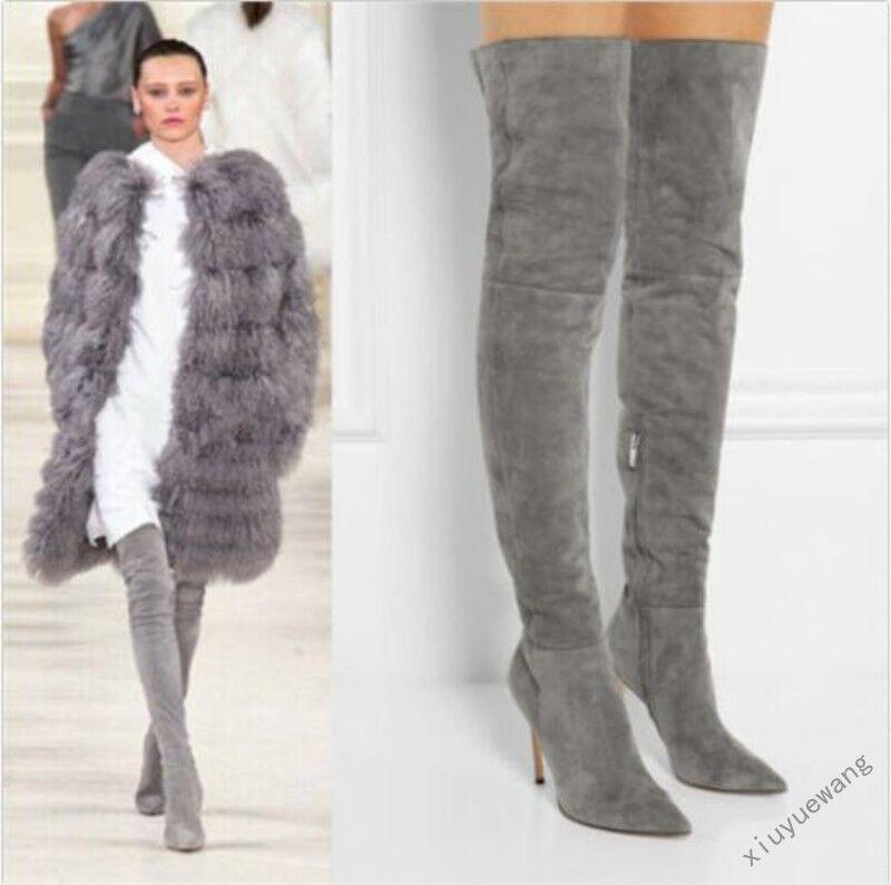 Mujer Elegante Con Cremallera De De De Salón Zapatos de Taco Alto Puntera en Punta Sobre la Rodilla botas Zapatos    mejor opcion