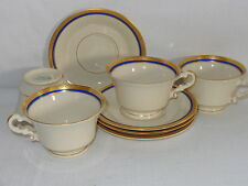 Syracuse China Old Ivory ~ WAYNE ~ Cobalt Blue & Gold Cup & Saucers (4 Sets )