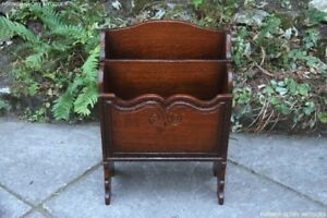 TITCHMARSH-AND-GOODWIN-CARVED-OAK-BEDSIDE-ARMCHAIR-TABLE-MAG-RACK-STAND-BOOKCASE