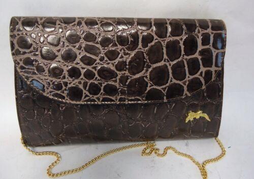Bag Leather Clutch Convertable Chain Brown Vintage Reptile Strap Print qwt4PYf