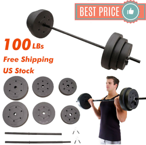 100lb-BARBELL-FREE-WEIGHT-Home-Gym-Fitness-Equipment-Adjustable-Weight-Set-Vinyl