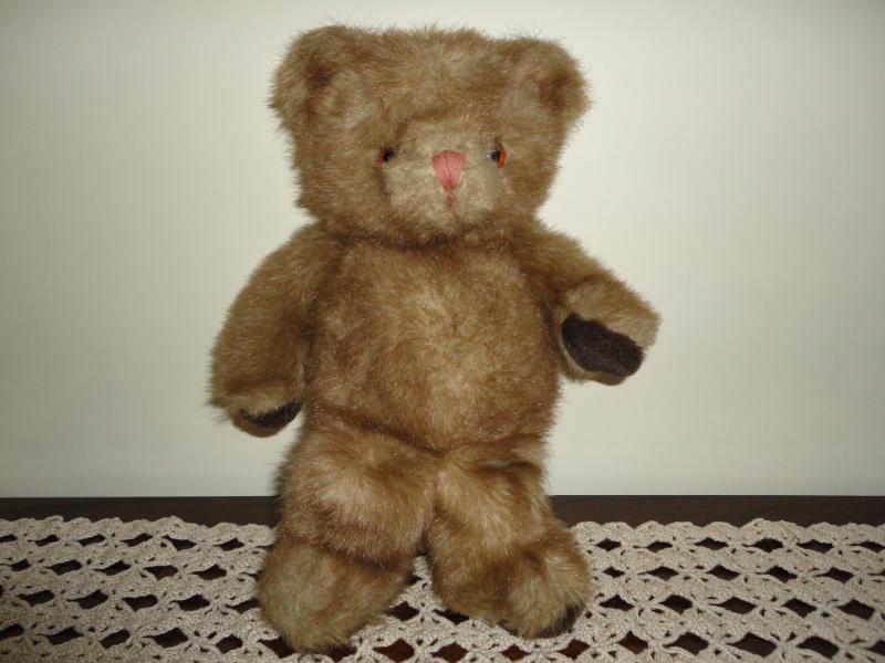 Vintage Faux Mink Plush Carnaby Bear 12 Inch RARE L1C5