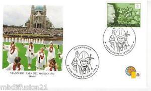 1996-FDC-1-JOUR-VATICAN-VISITE-DU-PAPE-J-PAUL-II-BELGIQUE-TIMBRE-Yv-1054