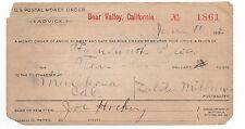 1902 US Postal Money Order from Bear Valley CA