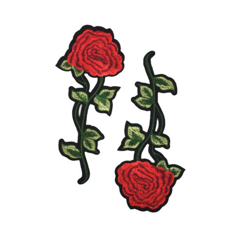 2pcs Red Rose Flower Embroidery Sew//Iron on Applique Patch for Garment Decor