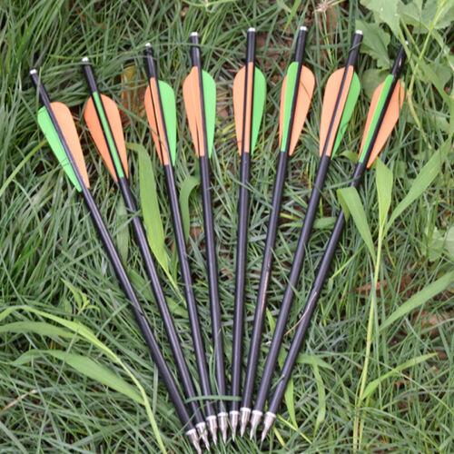"12pk Fiberglass Arrows 20/"" Crossbow Bolts 8.0 Screw Tips Archery Arrow//Equipment"