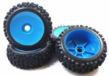 NIB Big Block Blue dish Pre-Mounted 1/8 Buggy Tires Glued 17mm hex