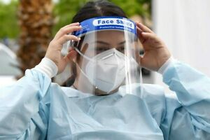 Visiera di protezione unisex antispruzzo in plastica con elastico professionale