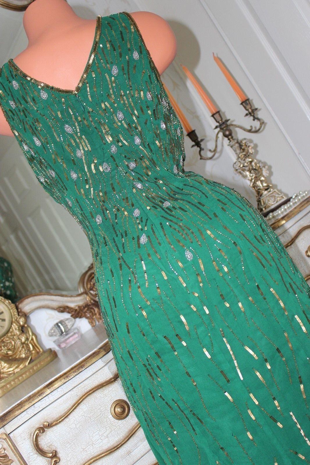 TOGETHER Green Sequinned  Fully Lined Full Length Length Length Dress Size 12 08b760