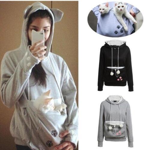 Kangaroo Pouch Pet Cat Dog Pocket Women Hoodie Sweatshirt Jumper Pullover New AE