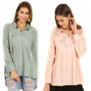UMGEE-Green-Peach-Woven-Cutout-Embroidered-Long-Sleeve-Blouse-Top-Tunic-S-M-L