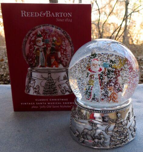REED /& BARTON Vintage Santa Musical Snowglobe Snow Globe Snowdome NIB