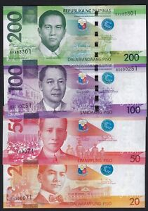 """Philippine 20, 50, 100, 200 Pesos NGC """" 2019 DIOKNO Signed """" UNC banknote"""