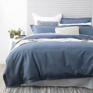 100% Cotton Thick Cotton Waffle Quilt Cover Duvet Doona Set BLUE All Sizes