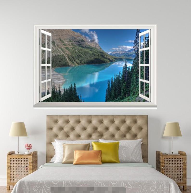 3D Blau River Trees 62 Open Windows Mural Wall Print Decal Deco AJ Wallpaper Ivy