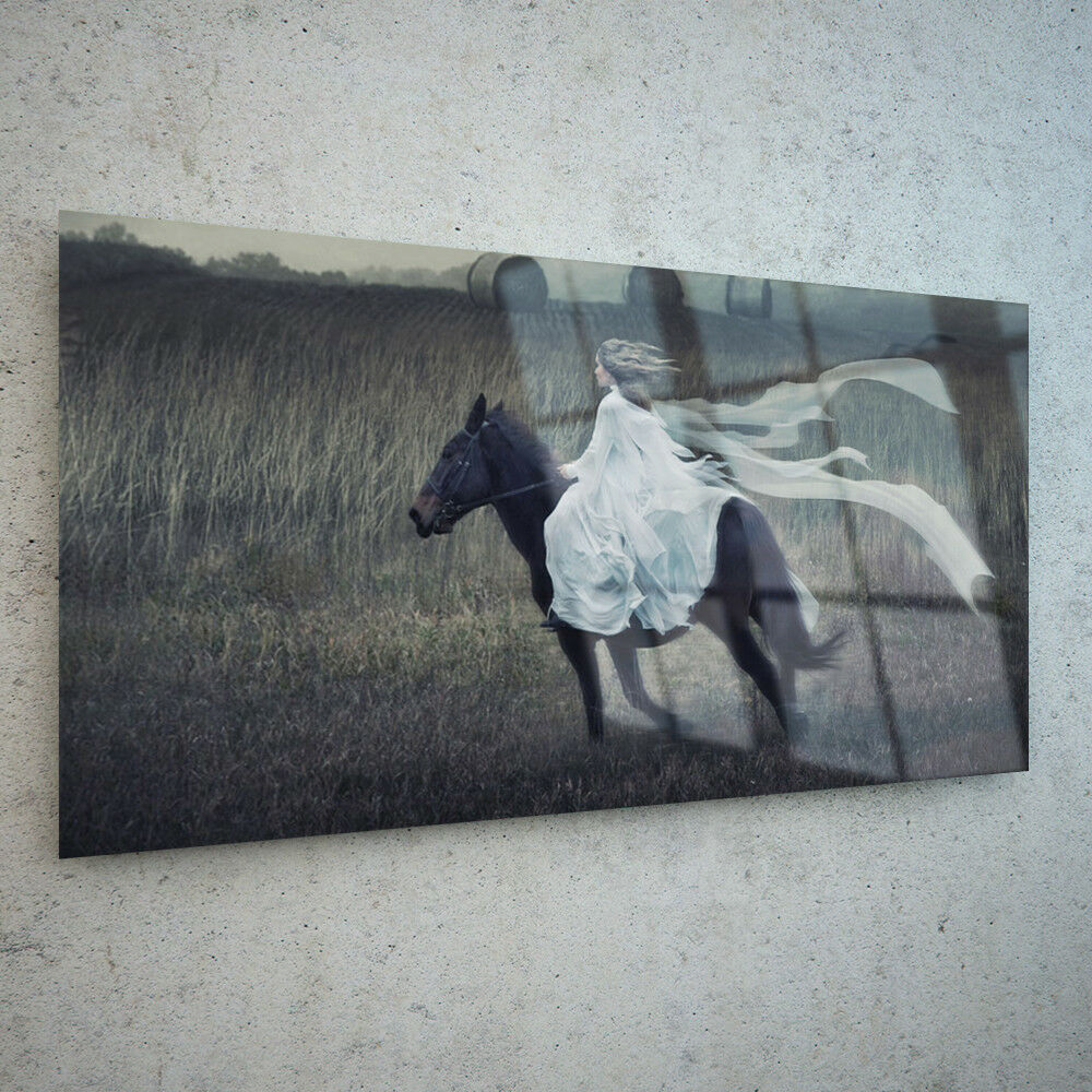 Canvas Prints Wall Art Fade Proof Glass Photo ANY Größe Lady Riding Horse 9078234