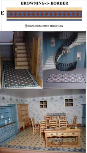 MINIATURE TILES.BROWNING 1 E DOLLHOUSE MINIATURES,DOLLHOUSE  FLOORING BORDER