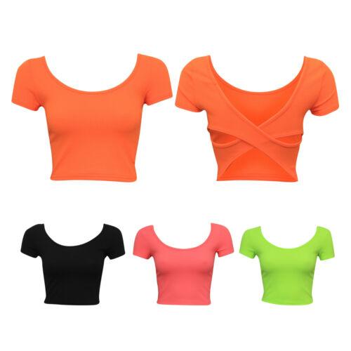 Ladies Women Plain Neon Cross Back Detail Cap Sleeve Crop Tee Top Size 6-14