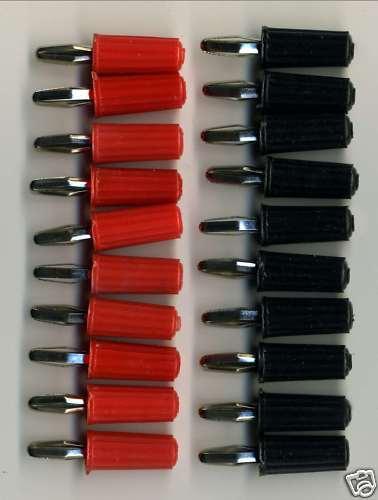 20 FICHES BANANES 4mm : 10 ROUGES + 10 NOIRES