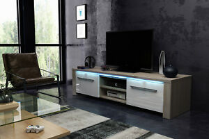 factory authentic ebf89 c0143 Details about TV STAND Helix Oak/White Gloss 160 TV Unit Lowboard Tv  Cabinet Led In-Stock