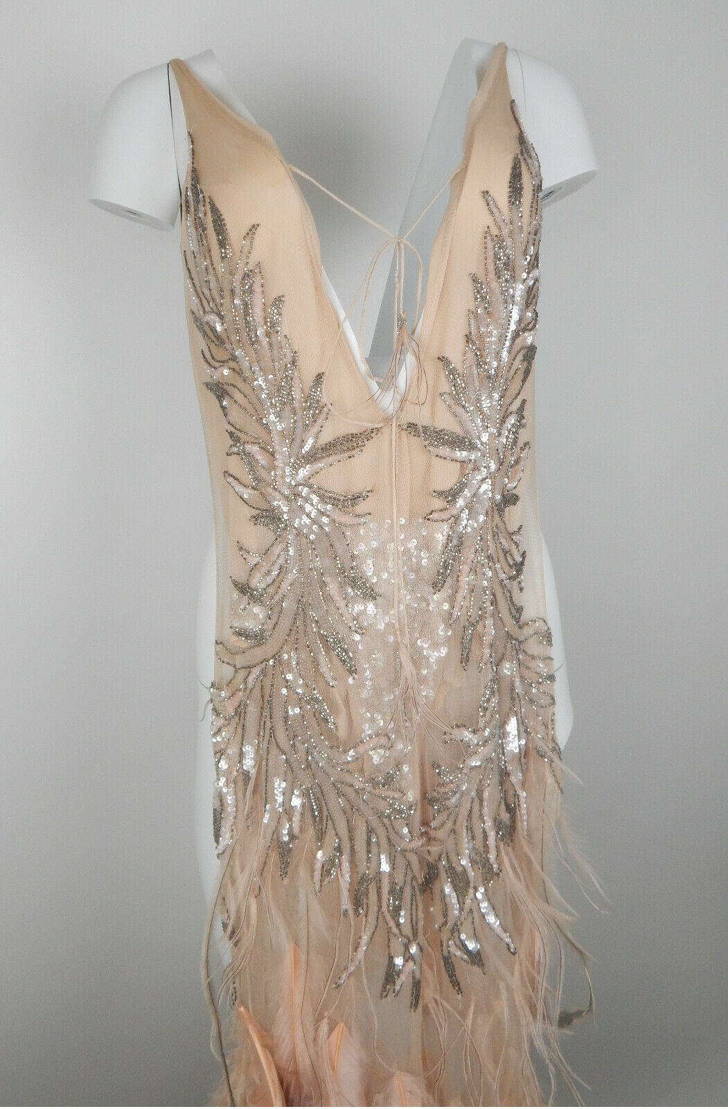Roberto Cavalli FW2003 Blush Crystal Feather Gown - image 10