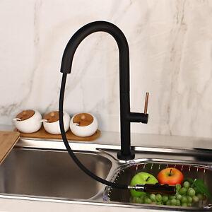 Black Painting Pull Down Kitchen Faucet Single Handle Hole Vessel Mixer Taps