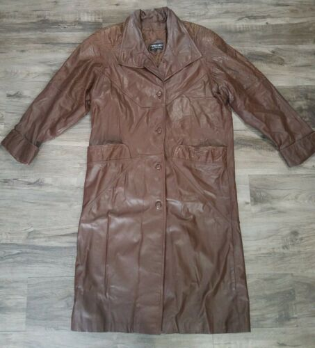 Pelle New York Milano Brown Leather Trenchcoat Wom