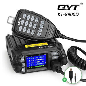 QYT-KT-8900D-VHF-UHF-25W-Quad-Standby-Car-Mobile-Radio-Transceiver-5Tone-Cable