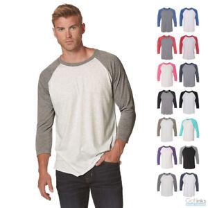Mens-Tri-Blend-Raglan-3-4-Sleeve-Baseball-Unisex-Plain-Tee-Jersey-T-Shirt-6051