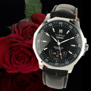 Automatic-Mechanical-Men-039-s-Wrist-Watch-Black-Leather-White-Hands-Silver-Case-Man