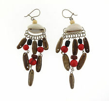 Hand crafted Shell with Black and Red Seeds Drop Dangle Earrings 4inch