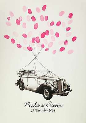 Large Wedding Fingerprint Car & Balloons- Unusual Wedding Gift