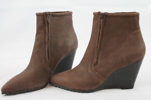 Halston-Brown-Leather-Ankle-Boots-8-Wedge-Heel-Pointed-Toe-NEW